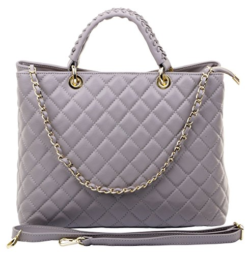 (Primo Sacchi Italian Leather Hand Made Large Grey Quilted Shoulder Bag Handbag)