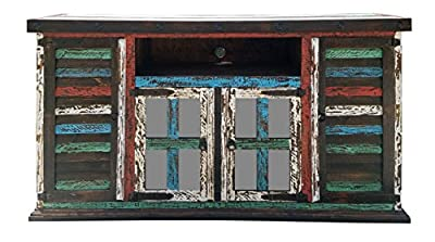 Hiend Rustic Medieval Western Antique Distressed Reclaimed Wood Look TV Stand With Conchos Solid Wood Already Assembled