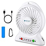 dizauL Portable Fan, Mini USB Rechargeable Fan with 2600mAh Battery Operated and Flash Light,for Traveling,Fishing,Camping,Hiking,Backpacking,BBQ,Baby Stroller,Picnic,Biking,Boating (White)
