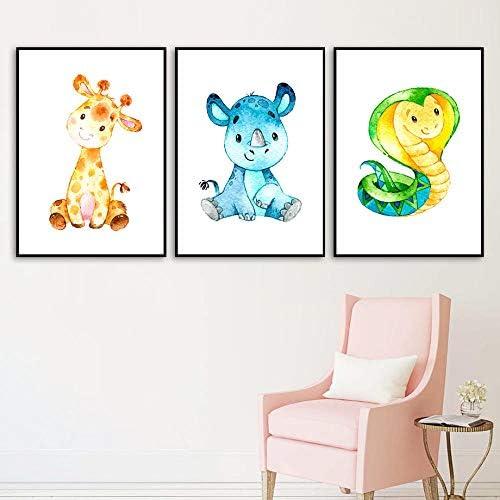 象コブラかわいい漫画ウォールアートプリントキャンバス絵画ポスターと版画壁の写真ベビーキッズルーム-40×50センチ×3ピースフレームなし