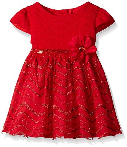 Youngland Baby Girls' Knit Bodice and Chevron Glitter Print Dress, Red, 24 (Glitter Bubble Dress)