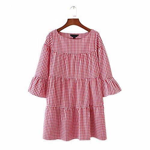 Vestido Mini Plisado O Fiesta Suelto Partido Casual Size Plus XINGMU Mujer Plaid Vestido Cuello Media Rojo De Manga d6qAxS5Ew
