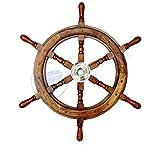 Natural Wood Premium Pirate's Boat Ship Wheel | Nagina International (48 Inches)