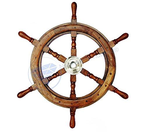 Natural Wood Premium Pirate's Boat Ship Wheel   Nagina International (48 Inches) by Nagina International