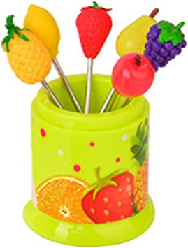 Creative cute stainless steel colorful fruit Fork 6 pack Red AL