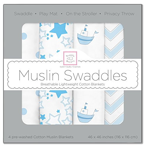 SwaddleDesigns-Cotton-Muslin-Swaddle-Blankets-Set-of-4-Pastel-Blue-Nautical-Little-Ships-Fun