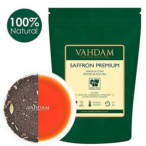 (VAHDAM, Saffron Tea Loose Leaf (50 Cups)   100% NATURAL SPICES   Black Tea, Cardamom, Cinnamon, Clove, Almond, Saffron   Spiced Chai Tea Loose Leaf   Brew Hot Tea, Iced)