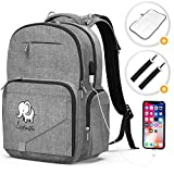 Diaper Bag Backpack Baby Bag - Large Diaper Backpack for Mom Dad, Unisex Baby Backpack with Built-in USB Charging Port, Stroller Straps and Insulated Pockets Multifunction Travel (with Elephant)
