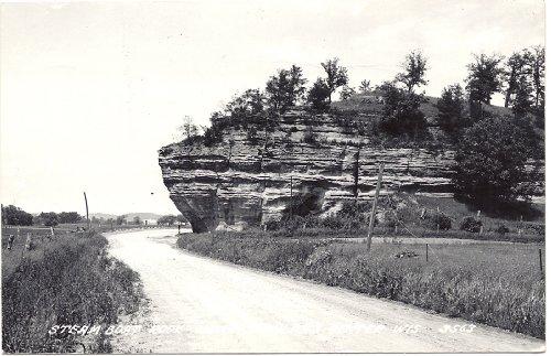 1950s Vintage Postcard - Steam Boat Rock - Richland Center Wisconsin