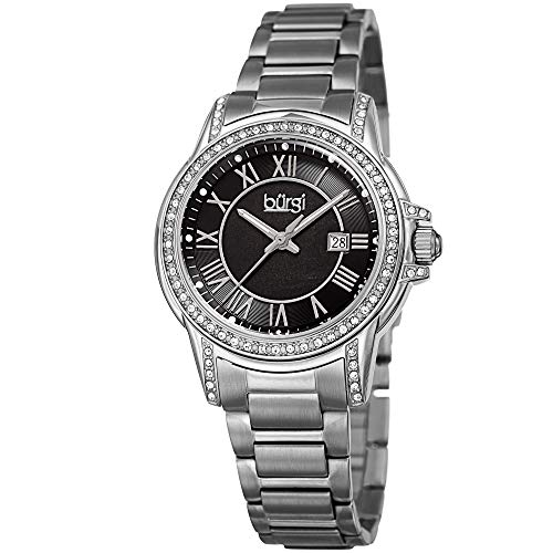 Burgi CZ Studded Designer Women's Watch -Stainless Steel Bracelet Band, Cubic Zirconium Gemstone Bezel, Mother of Pearl Dial, Quartz Movement - BUR168SSB ()