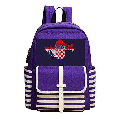 YTUC-102 Kindergarten And Elementary School Durable Backpack, Boy And Girl Purple Backpack Croatia Flag by YTUC-102
