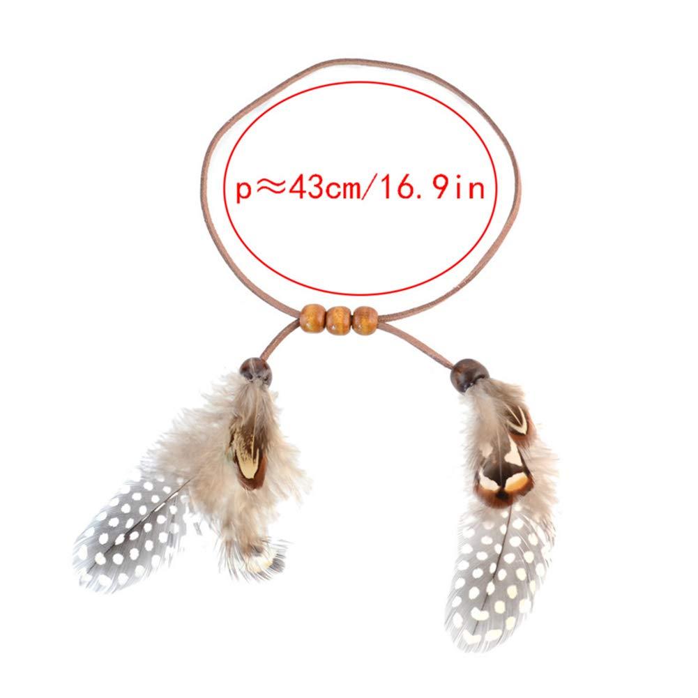 URUHR Bohemia Bracelets for Women Girls Feather Wooden Beads Chain Bracelets Bangle