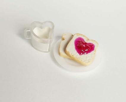 Breakfast Toast Strawberry Jam Jelly Heart Milk Glass