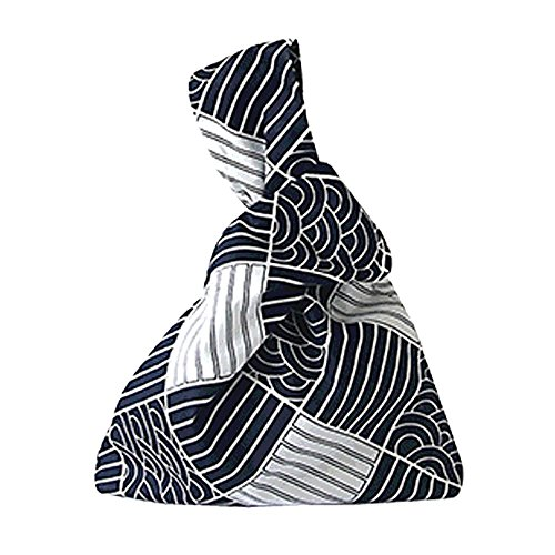 Oath_song Women's Cotton Wave Pattern Knot Bag Canvas Tote Small Size (plaid)
