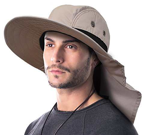 Terra Unisex Sun Hat With Neck Flap/Wide Brim/Adjustable Strap Fishing Camping Cap (Head 8' Mesh)