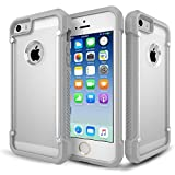 iPhone 5S Case, KAMII Premium PC&TPU [Shock-Asorption] Super Cool Armor Looking Slim Case Cover with No Bulk Protective Bumper Case for Apple iPhone 5/5S iPhone SE (Grey Clear)