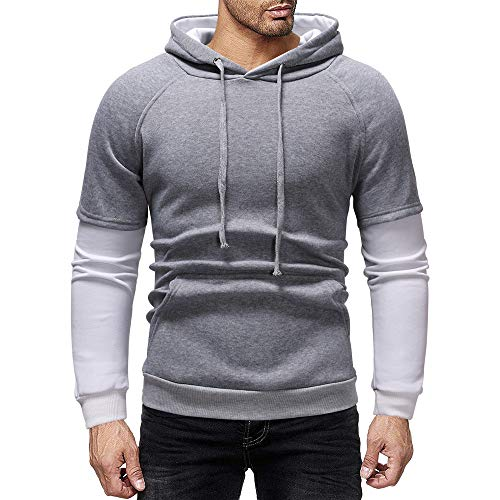 SSYUNO Big Sale Men's Autumn Winter Fashion Casual Patchwork Hooded Fake Two Sweatshirt Tops with Drawstring ()