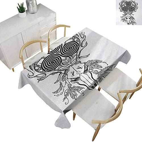 Celtic,Custom tablecloths Deer Skull with Native American Bohemian Feather and Celtic Spiral on The Horns Boho Oblong Wrinkle Resistant Tablecloth Black White 70
