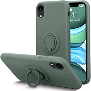 KUMEEK for iPhone XR Case Fingerprint | Kickstand | Anti-Scratch | Microfiber Liner Shock Absorption Gel Rubber Full Body Protection Liquid Silicone Case for iPhone XR-Pine Green