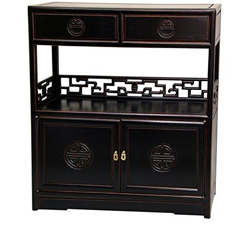(Oriental Furniture Rosewood Long Life Display Cabinet - Antique Black)