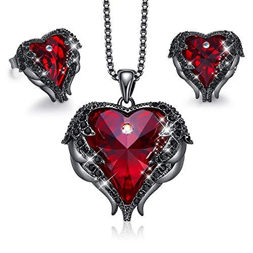 CDE Schmucksets für Damen Herz Halskette, Ohrringe Schmuck Set Kette für Damen Frauen Besetzt mit Swarovski Steinen Anhänger mit Geschenkbox, ldeales Muttertagsgeschenk