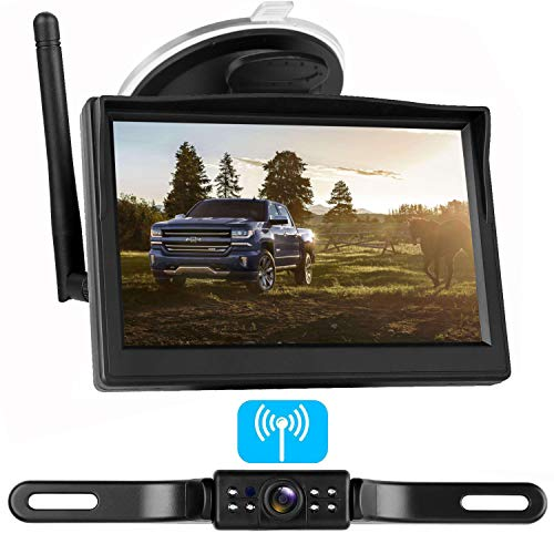 LeeKooLuu Digital Wireless Backup Camera System for Car/RV/Truck/Van/Trailer/Pickup with 5''Monitor Rear/Side/Front View Camera Continuous/Reverse Night Vision IP69 Waterproof Guide Lines On/Off ()