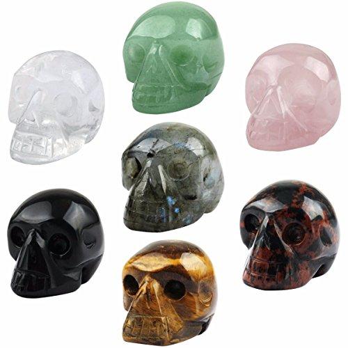 (SUNYIK Assorted Stones Carving Skull Statue,Pocket Crystal Figurine Sculpture Decor 1