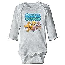 Bubble Guppies Cartoon Kids Baby Boys Girls Bodysuit Long Sleeve Rompers 100% Cotton