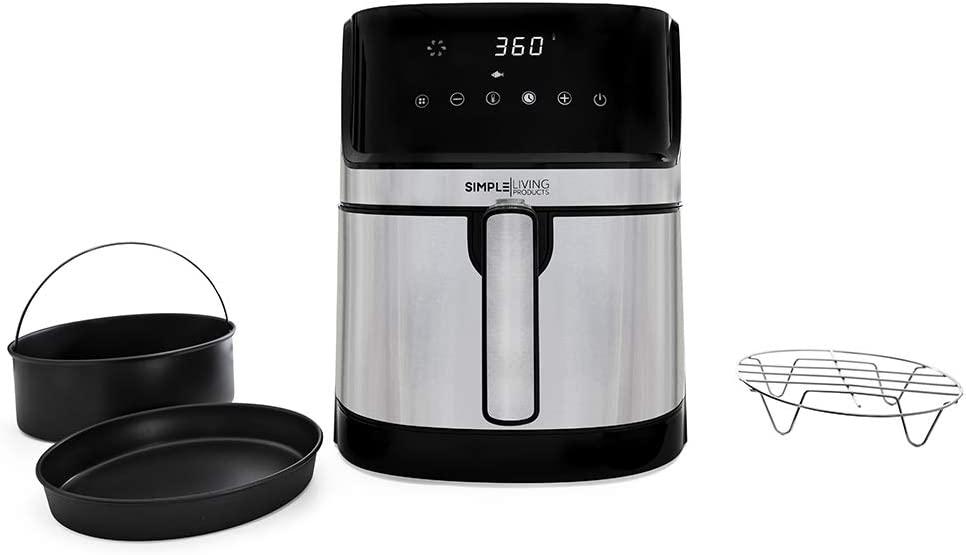 Simple Living Products Stainless Steel 5.8Qt Air Fryer & 3 Piece Accessory Set