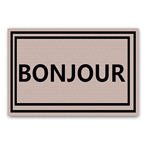 """Bonjour French Lauguage Doormat Entrance Mat Floor Mat Rug Indoor/Outdoor/Front Door/Bathroom Mats Rubber Non Slip (30""""x18"""",45cmx75cm)"""