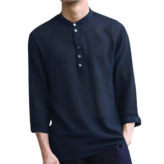 Overdose Camisetas Hombre Originales Baggy Algodón Lino 3/4 Botón de Manga Retro Cuello V Camisetas Camisetas Tops Blusa Blanca: Amazon.es: Ropa y accesorios