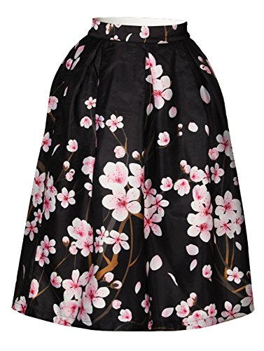 di da al pieghe Sakura lunghezza di con Sakura Gonna ginocchio Van Cfanny a stampa quadro donna Black Gogh pHq68nxE