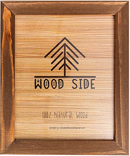 Rustic Wooden Picture Frame 11x14 Inch - 100% Natural Solid Eco Barn Wood for Wall Mounting Photo Frame - Honey Brown ()