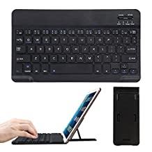 CoastaCloud Portable Ultra Slim Rechargeable Wireless Bluetooth Keyboard with Stand for iPad 2017/Pro/Air, iPad 2/3/4, iPhone, Samsung and iOS, Android Tablets and Smartphones (Black)