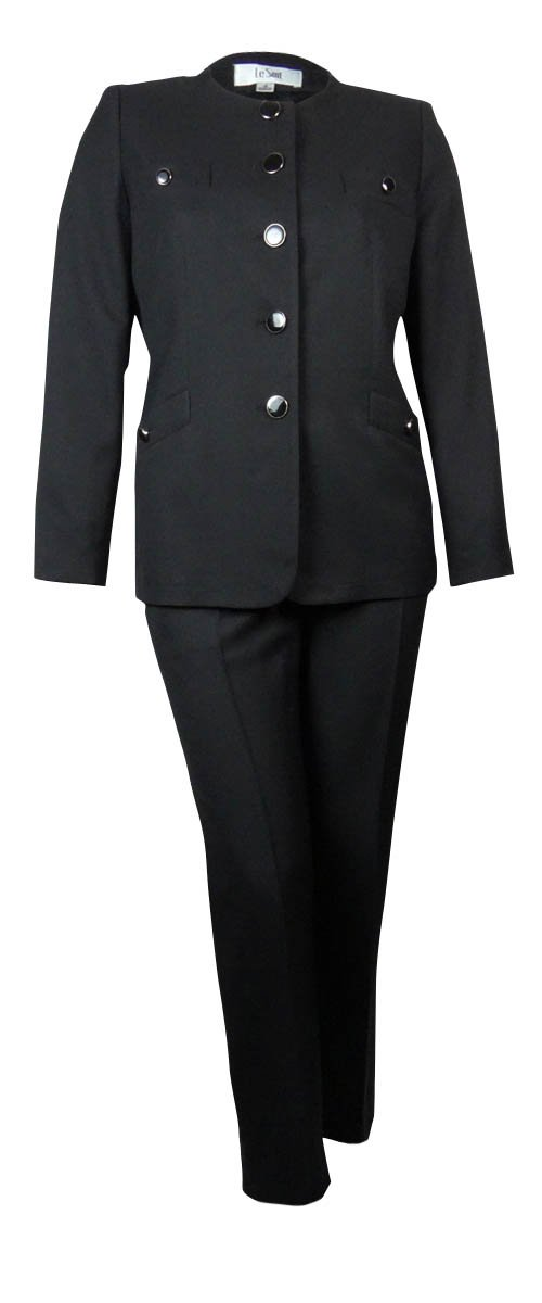 Le Suit Women's Scoop Neck Crepe Tuscany Pant Suit (6P, Black)