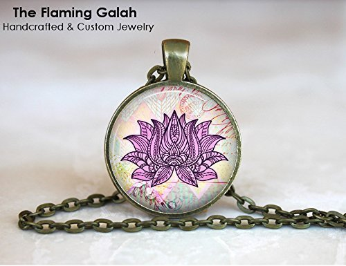 Amazoncom Lotus Flower Pendant Purple Lotus Flower Watercolour