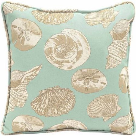 Stylish Better Homes and Gardens Outdoor Patio 18'' Square Pillow With Welt, Seashells Pattern