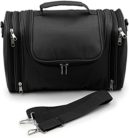 "Hipiwe Hanging Travel Toiletry Bag/Shaving Grooming Dopp Kit/Makeup Bag Organizer/Household Bathroom Storage Pack for Business and Vacation(13.39"" x 6.1"" x 8.27"")(Black)"