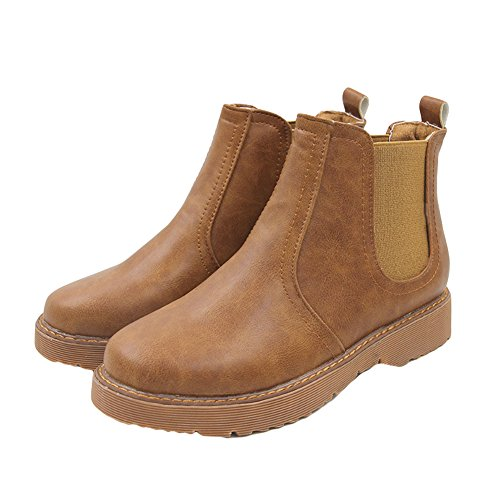 Btrada Womens Winter Elastische Panel Side Enkellaarzen Bontvoering Platte Ronde Neus Chelsea Martin Booties Brown