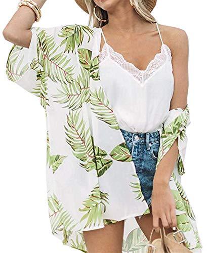 Women's Floral Kimono Cardigan Summer Loose Shawl Chiffon Beach Blouse Cover up X-Large Light Green
