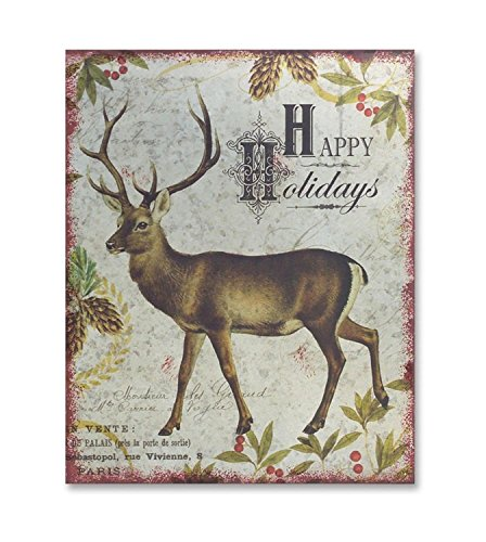 "Diva At Home Set of 4 Rustic French Styled ""Happy Holidays"" Christmas Deer Wall Art 18"""