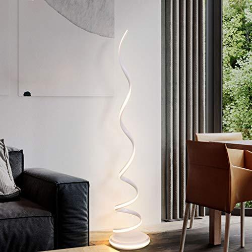 FriendShip Shop Floor Lamp- Nordic Vertical Spiral Floor Lamp, Modern LED Living Room Floor Lamp, Bright Standing Light, Vertical Table Lamp, White