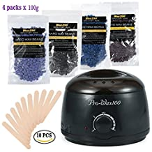 500ML Hair Removal Hot Paraffin Warmer Waxing Heater + 100g/Bag 4 Different Types of Hard Wax Beans Special for Men and Women Depilatory Use (Black)
