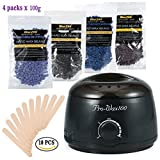 Depilatory Cream On Balls - 500ML Hair Removal Hot Paraffin Warmer Waxing Heater + 100g/Bag 4 Different Types of Hard Wax Beans Special for Men and Women Depilatory Use (Black)