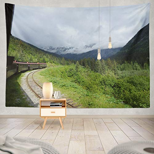 Summor Tapestry White and Train Traveling Territory Alaska Canada Mountain Old Railroad Art Nature Home Decorations for Living Room Bedroom Dorm Decor 80 x 60 Inch