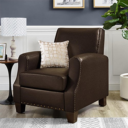 Upholstered Oxford Club - Dorel Living DL7440-BR Club Chair, Brown