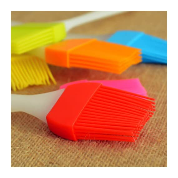 kingleder Assorted Color Silicone Basting Brush for Desserts Baking Barbecue Pastry BBQ(Set of 6) 6 Made of FDA Flexible Silicone with a steel core inside and BPA free, 100% food-grade silicone Comes in 6 Assorted colors Baking brushes, Blue/Green/Orange/Pink/Red/Yellow Easy to clean, silicone design, easy to wash with hands, flush with soapy warm water to get the oily stuff down, and then hang it to air dry