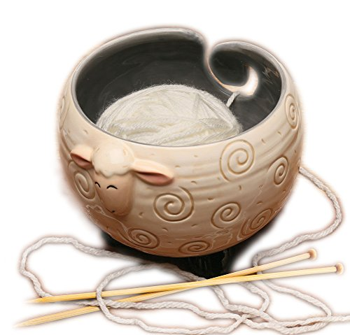 KonThia Sleepy Sheep Shaped Yarn Knitting Bowl - Holds Ball for Tanglefree Yarn