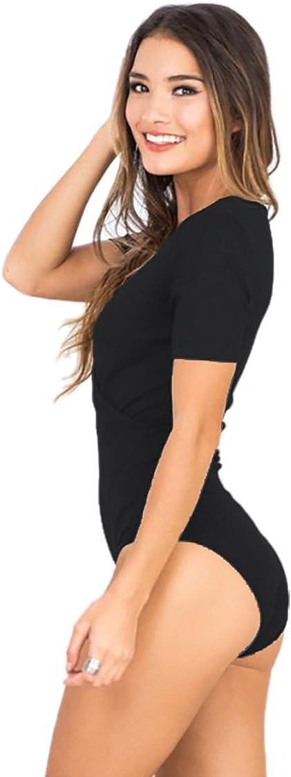 Women Sleeveless Bodysuit Button Front V Neck Leotard Lingerie