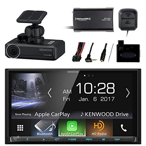Car Audio Package: Kenwood 2-DIN Receiver w/Bluetooth & HD Radio, Metra Steering Wheel Control Interface, SiriusXM Satellite Radio Tuner Kit, Drive Recorder Dash Camera